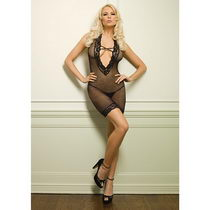 DEEP-V BLACK Bodystocking